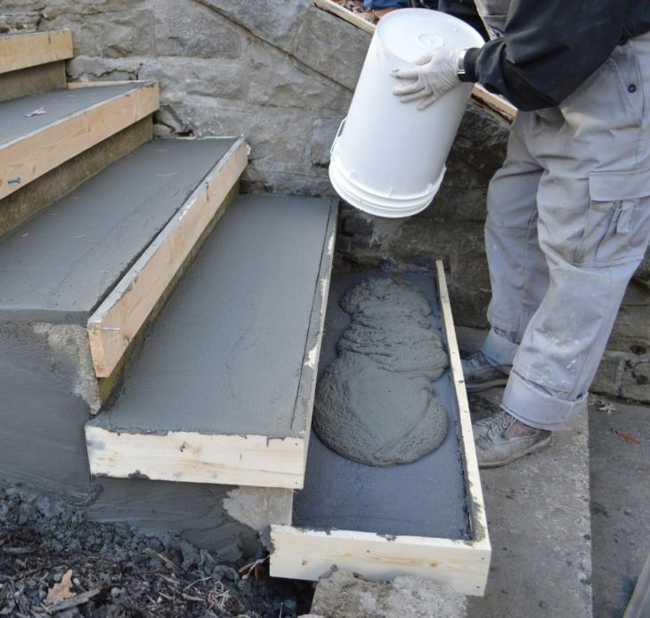 concrete stair contractors during work